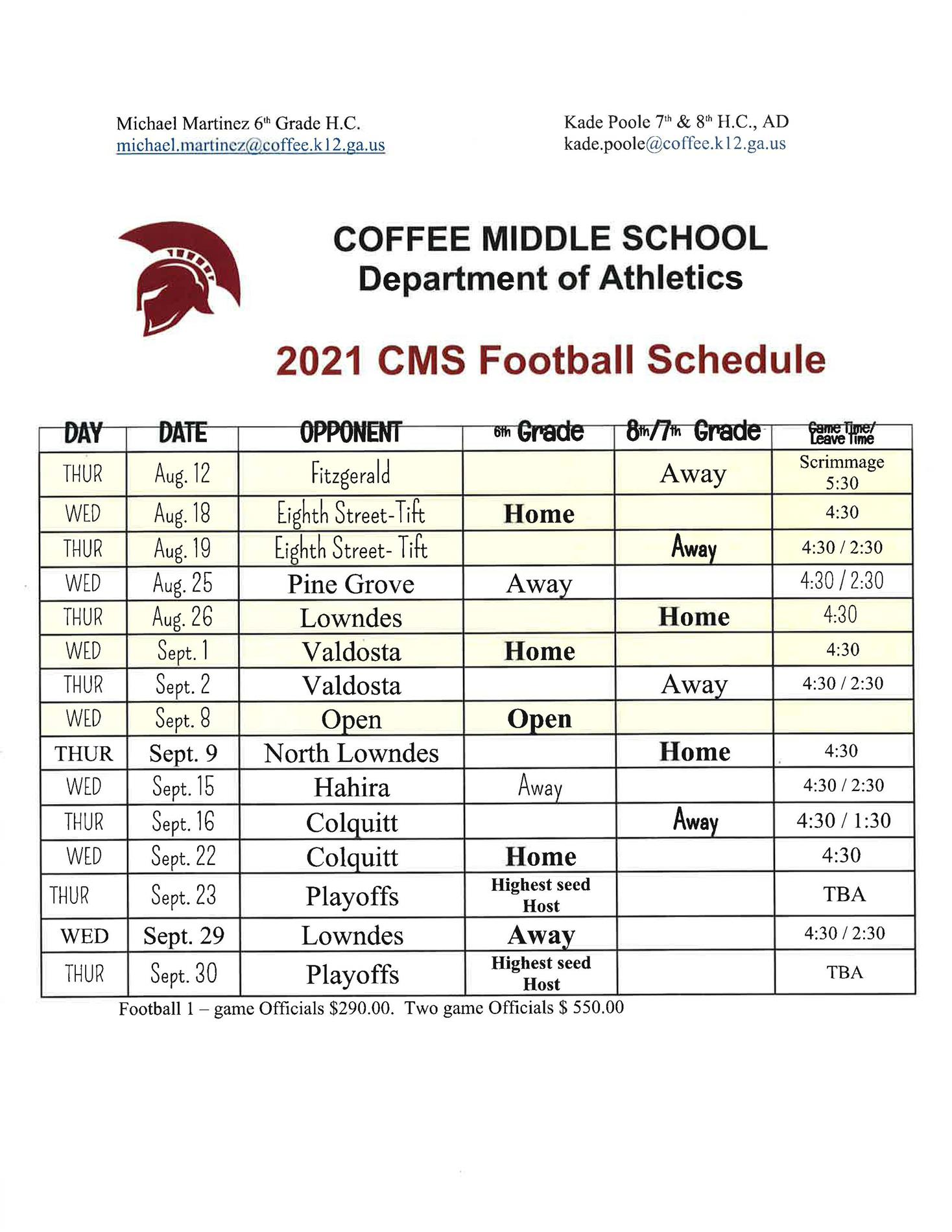 2021 Coffee Middle School Football Schedule