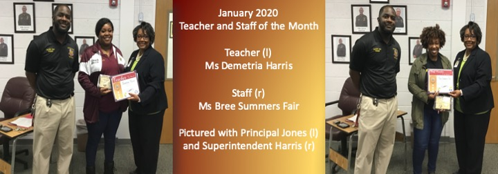 January 2020 Teacher and Staff of the Month