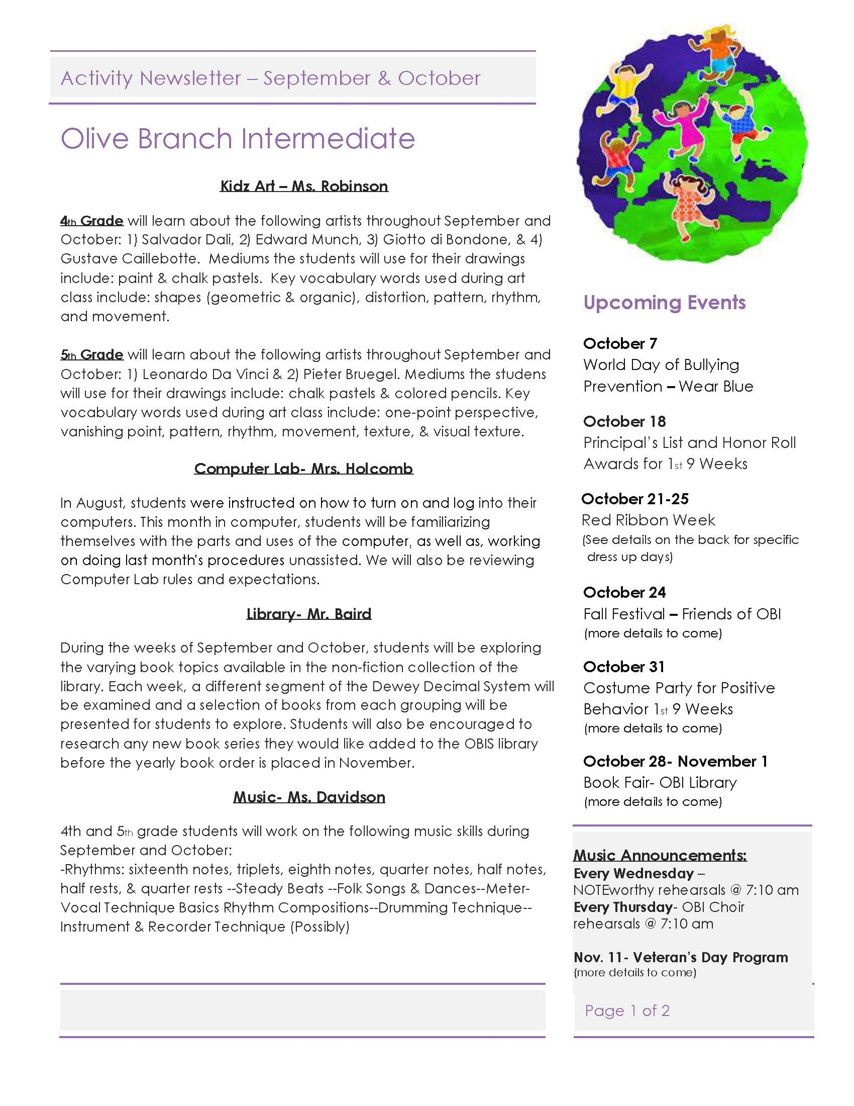 Page 1 - Activity Newsletter