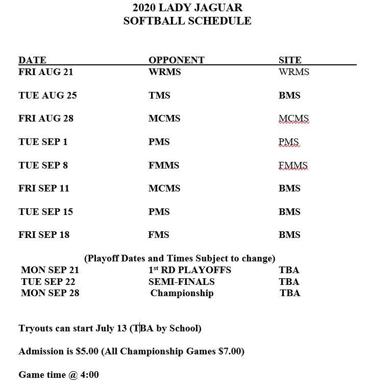 2020 Softball Schedule