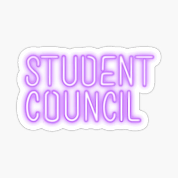 student council in purple neon sign lettering
