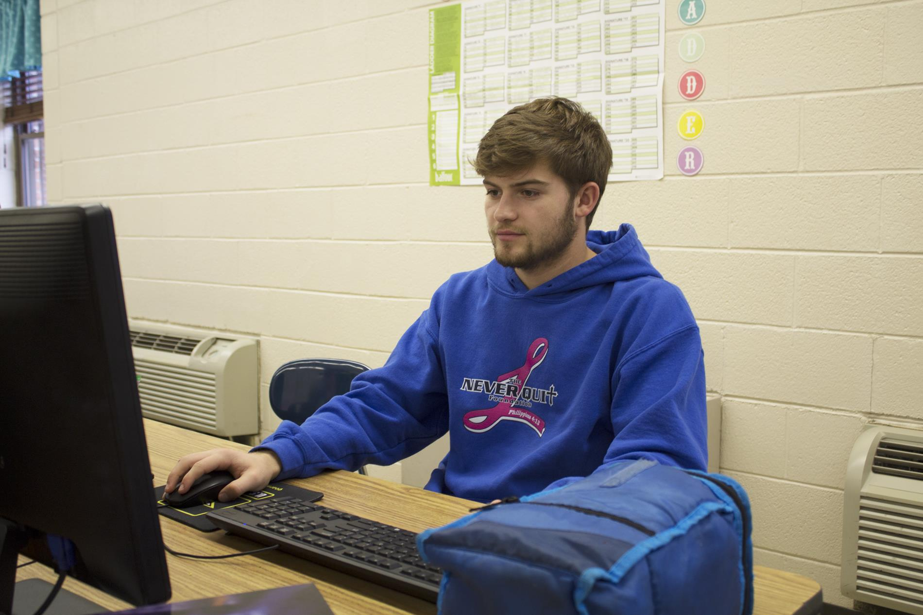 Student works on a computer