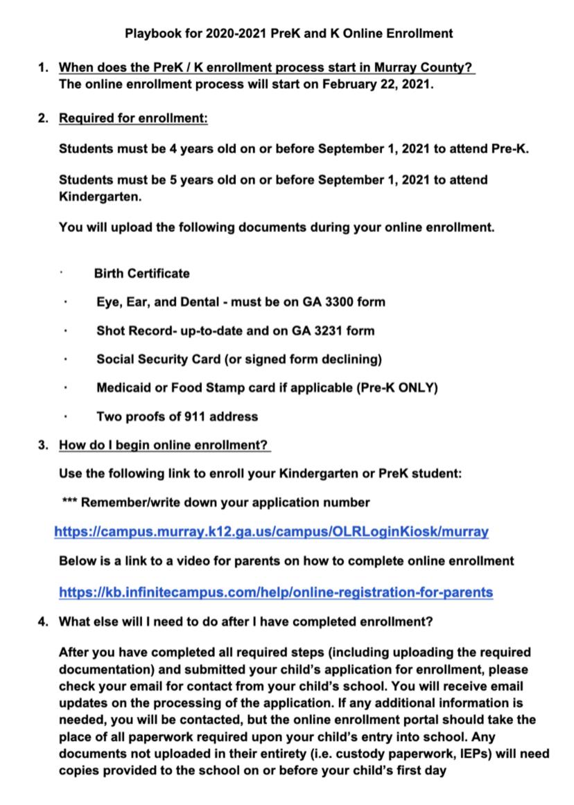 Pre K or K Enrollment Letter