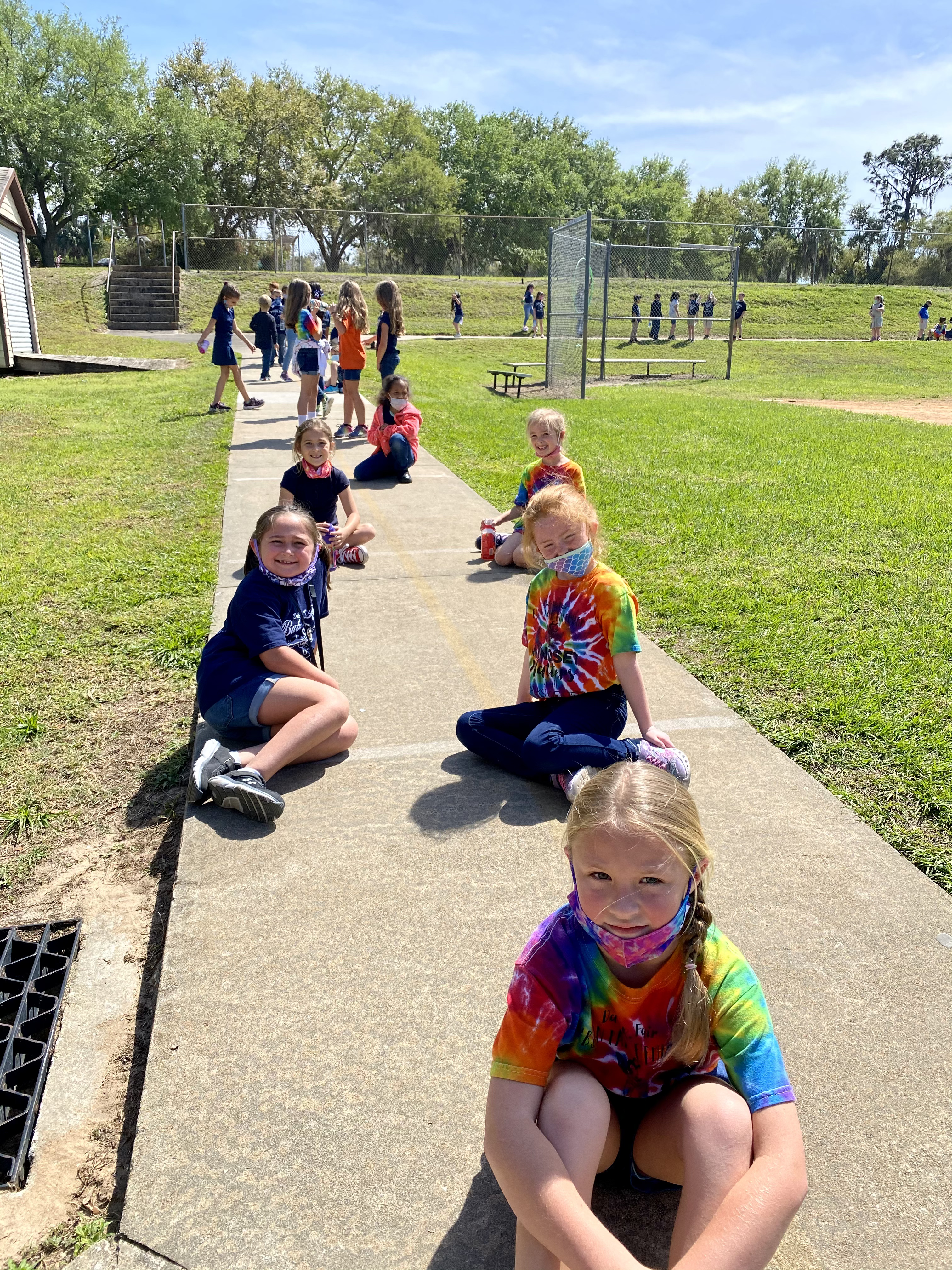 Students sitting at their starting point for the Walk-a-Thon