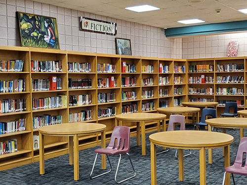 image of library shelves and tables