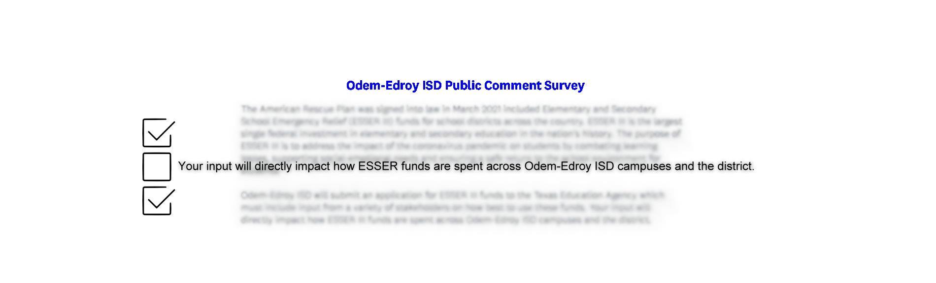 Odem-Edroy ISD Public Comment Survey