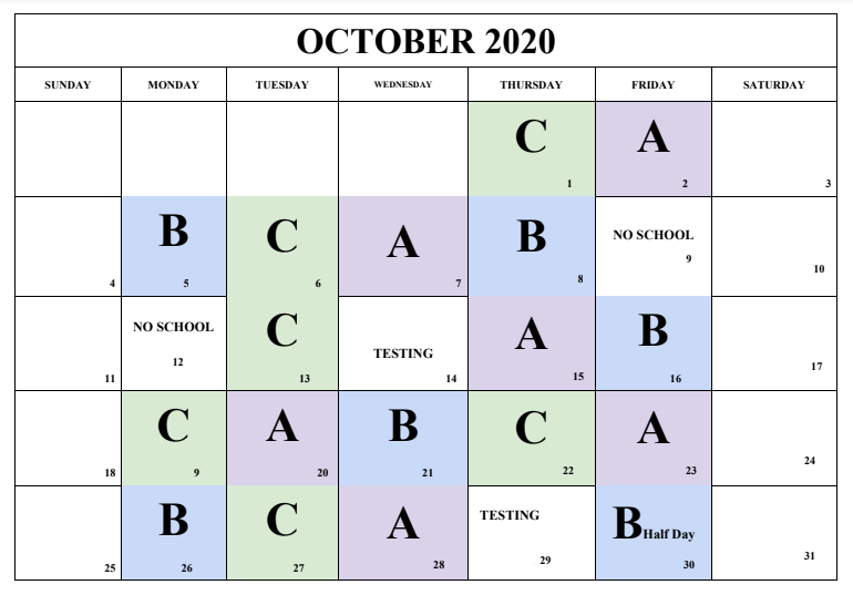 October RHHS Day Calendar