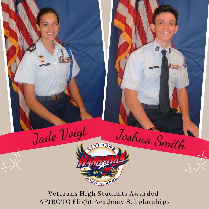 VHS Students Win AFJROTC Flight Academy Scholarships