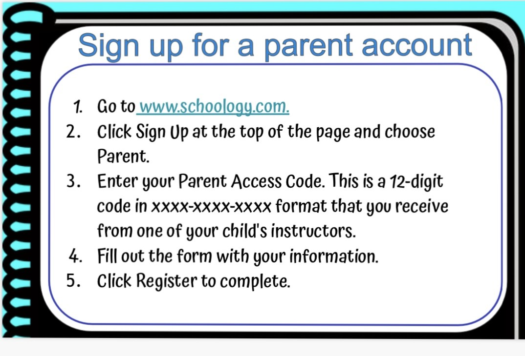 Parent Schoology Account information