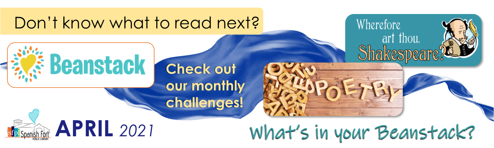Don't Know what to read next? Check Out our monthly challenges for all ages on Beanstack! Click the link!