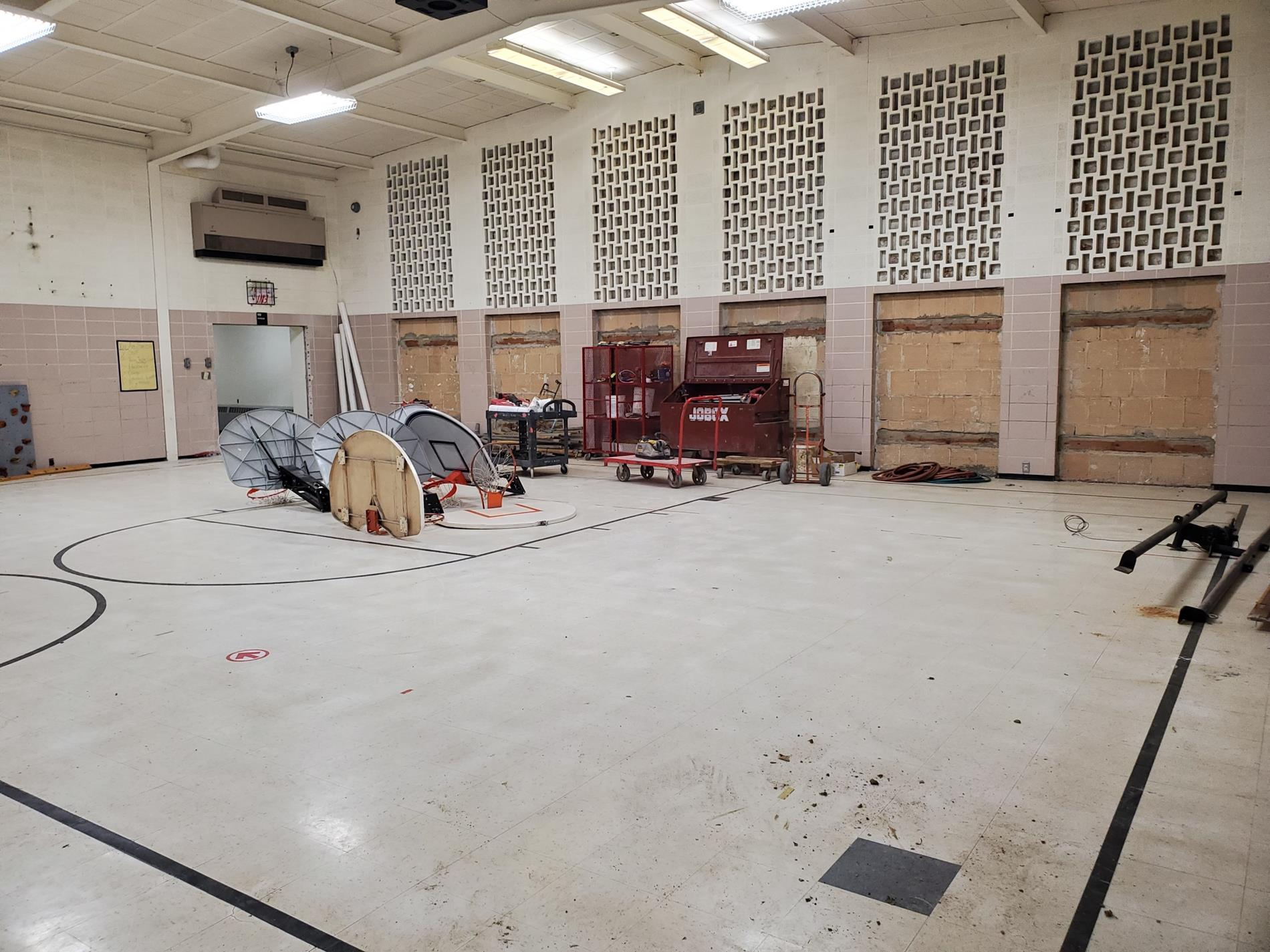 """""""old gym"""" basketball hoops are down"""