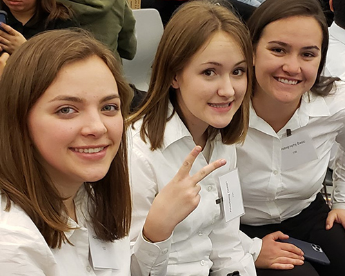3 girls at SkillsUSA competition for Graphic Design