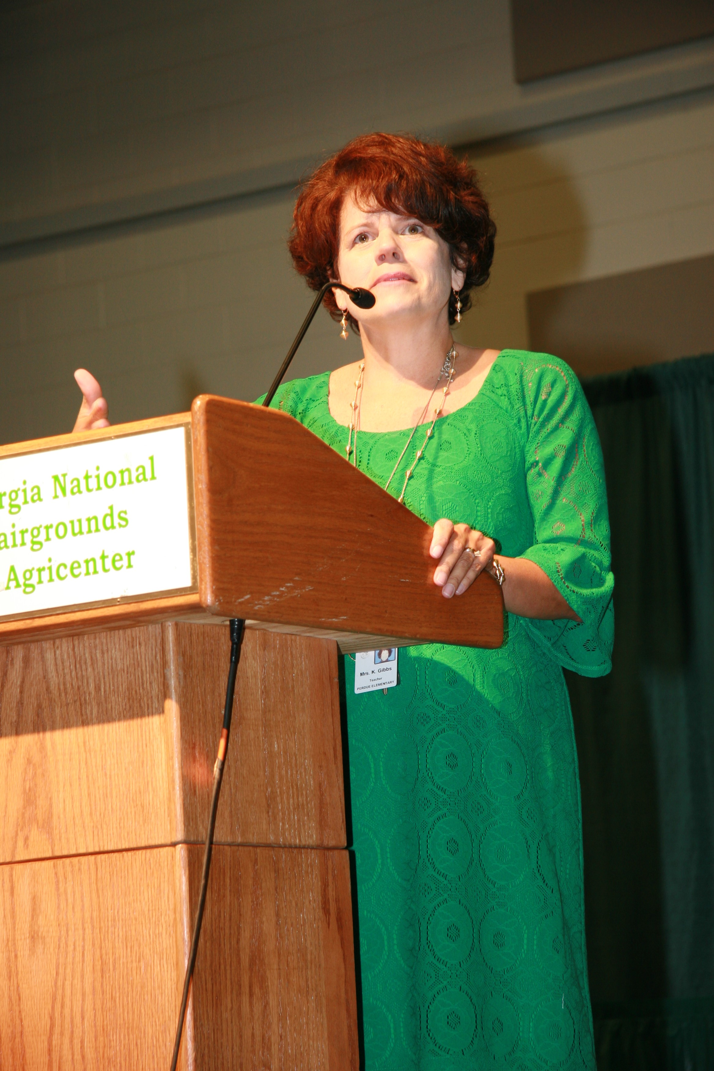 Kathy Gibbs accepting Houston County Teacher of the Year