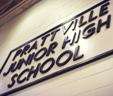 the Prattville Junior High School sign in the gym