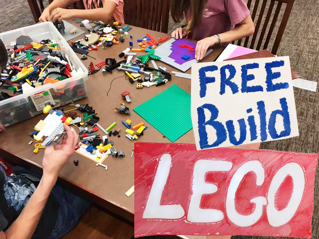 Children participating in the weekly Lego Build event at SFPL