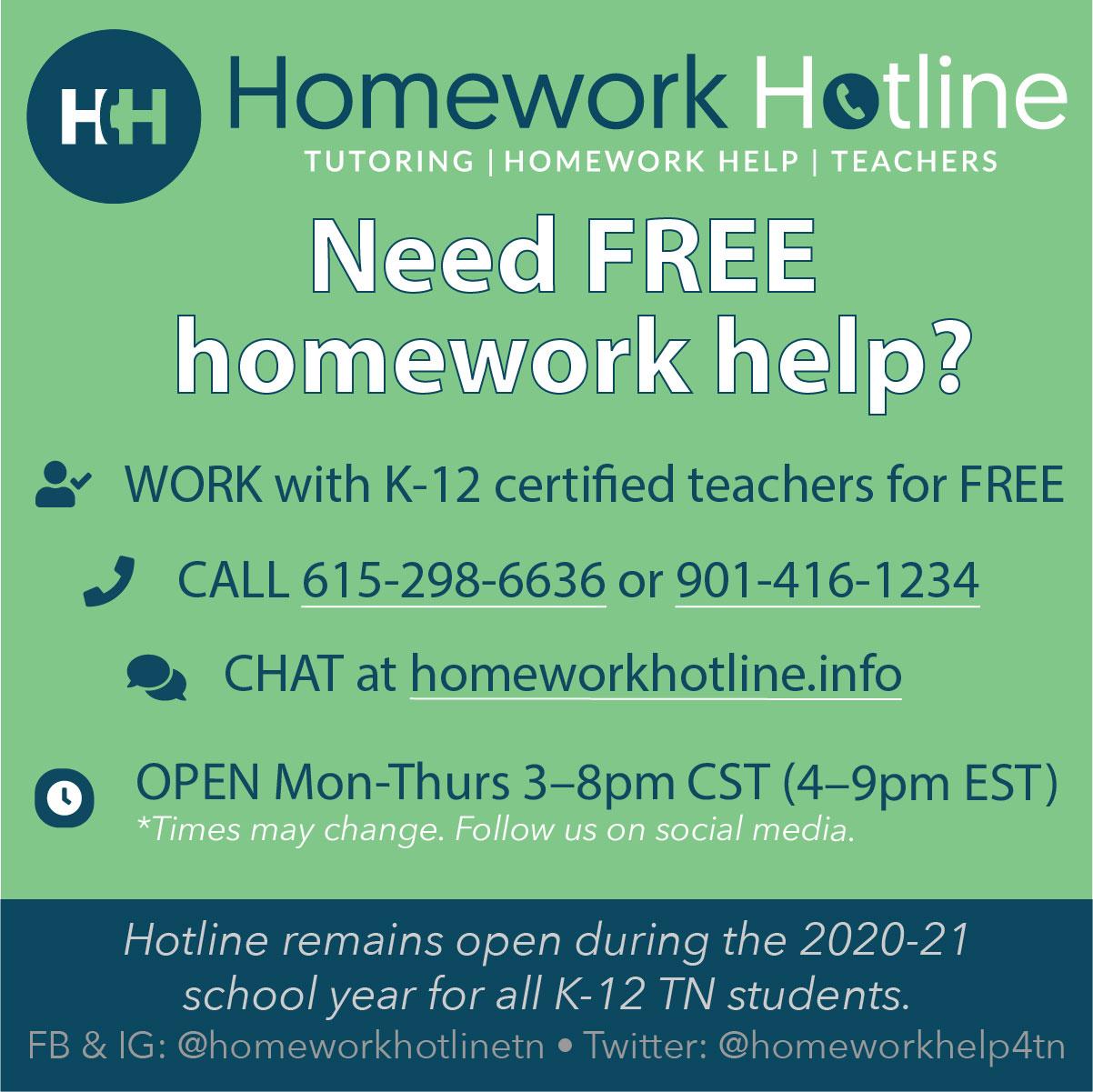 Homework Hotline Information