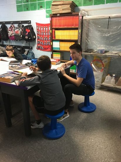 Students using Wobble Chairs