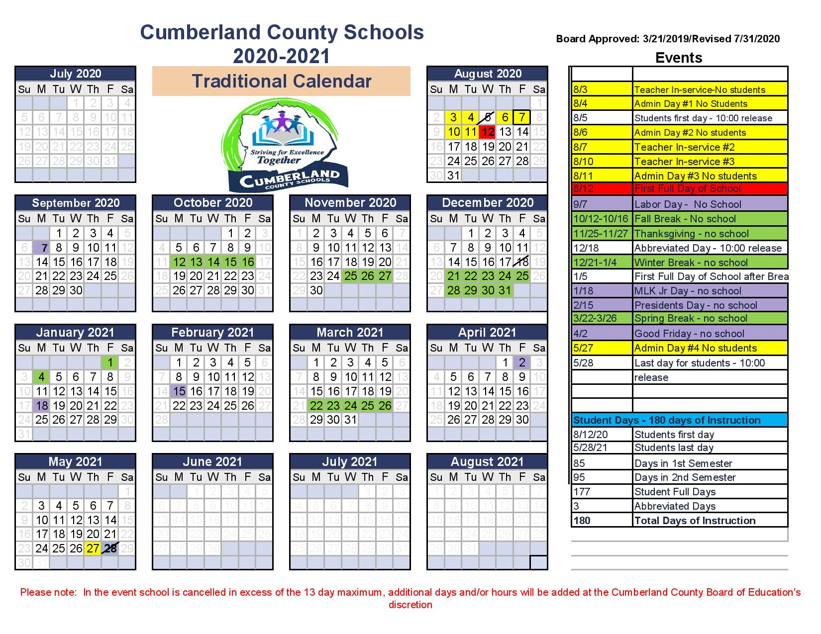 School Calendar 2020-2021 Revised Aug 13 2020