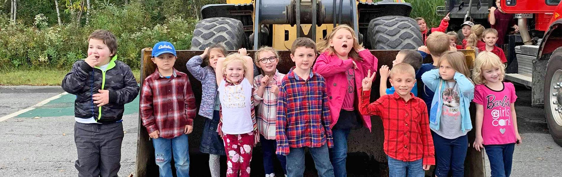Colebrook elementary students with tractor