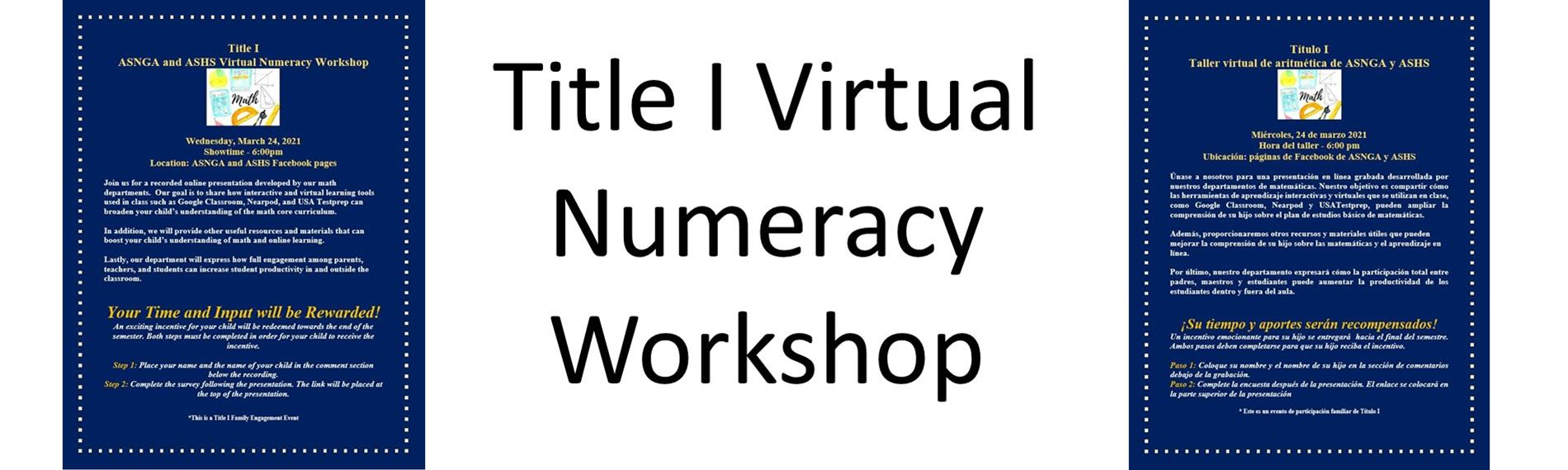 Flyer for Numeracy Workshop in English and Spanish