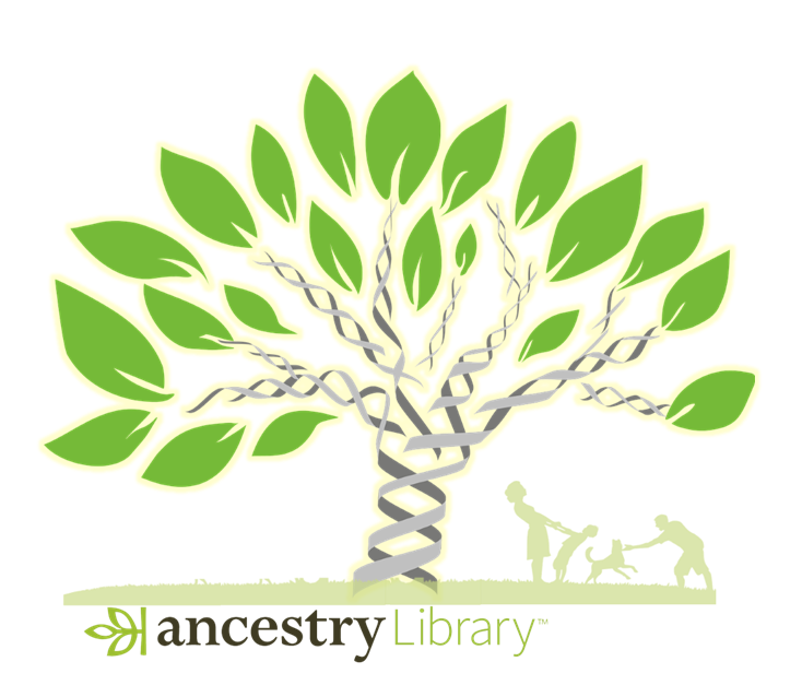 DNA tree graphic with silhouette of family playing outside on a summer day to illustrate Ancestry Library Edition free access extension through June 30, 2021.