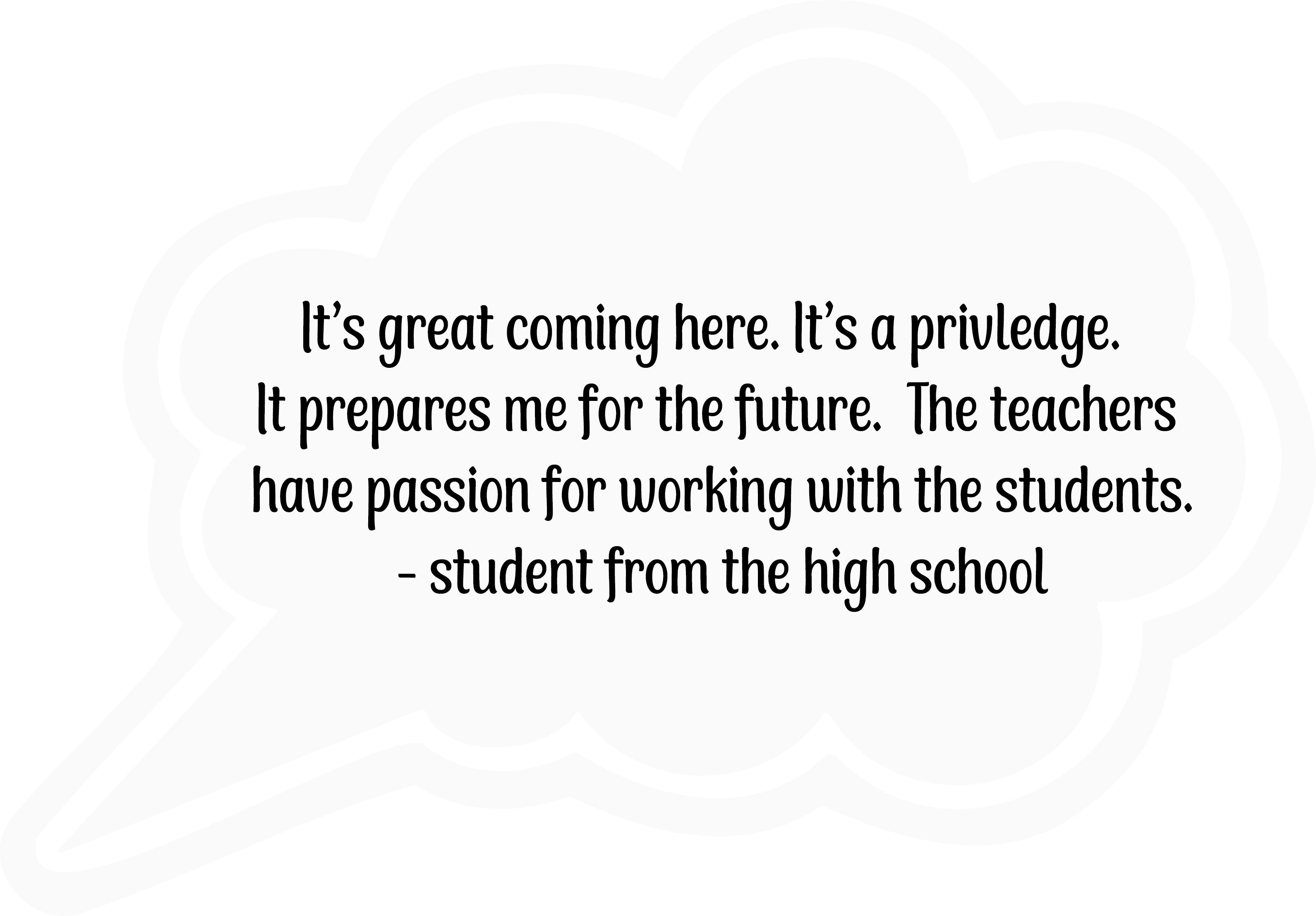 High School Student Testimonial