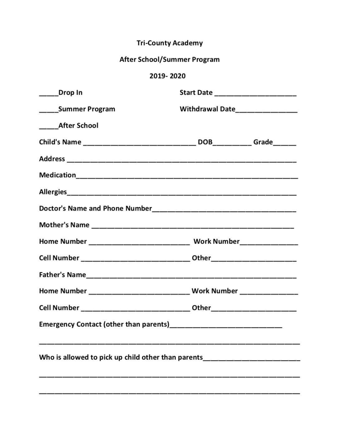 After School/Summer Program