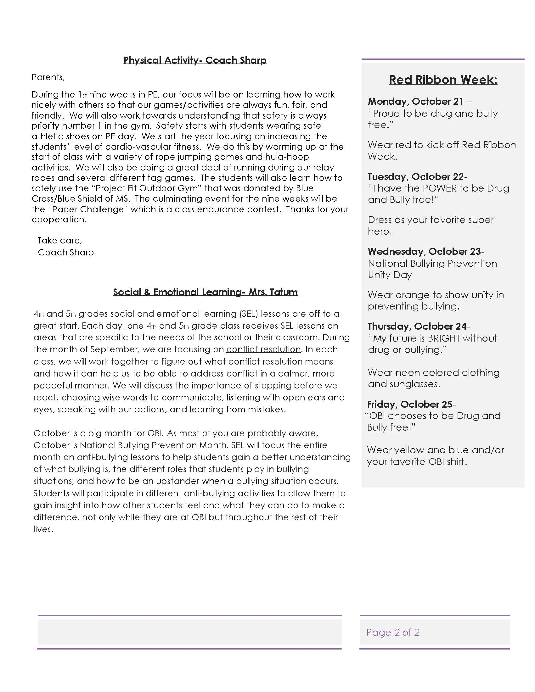 Activity Newsletter page 2