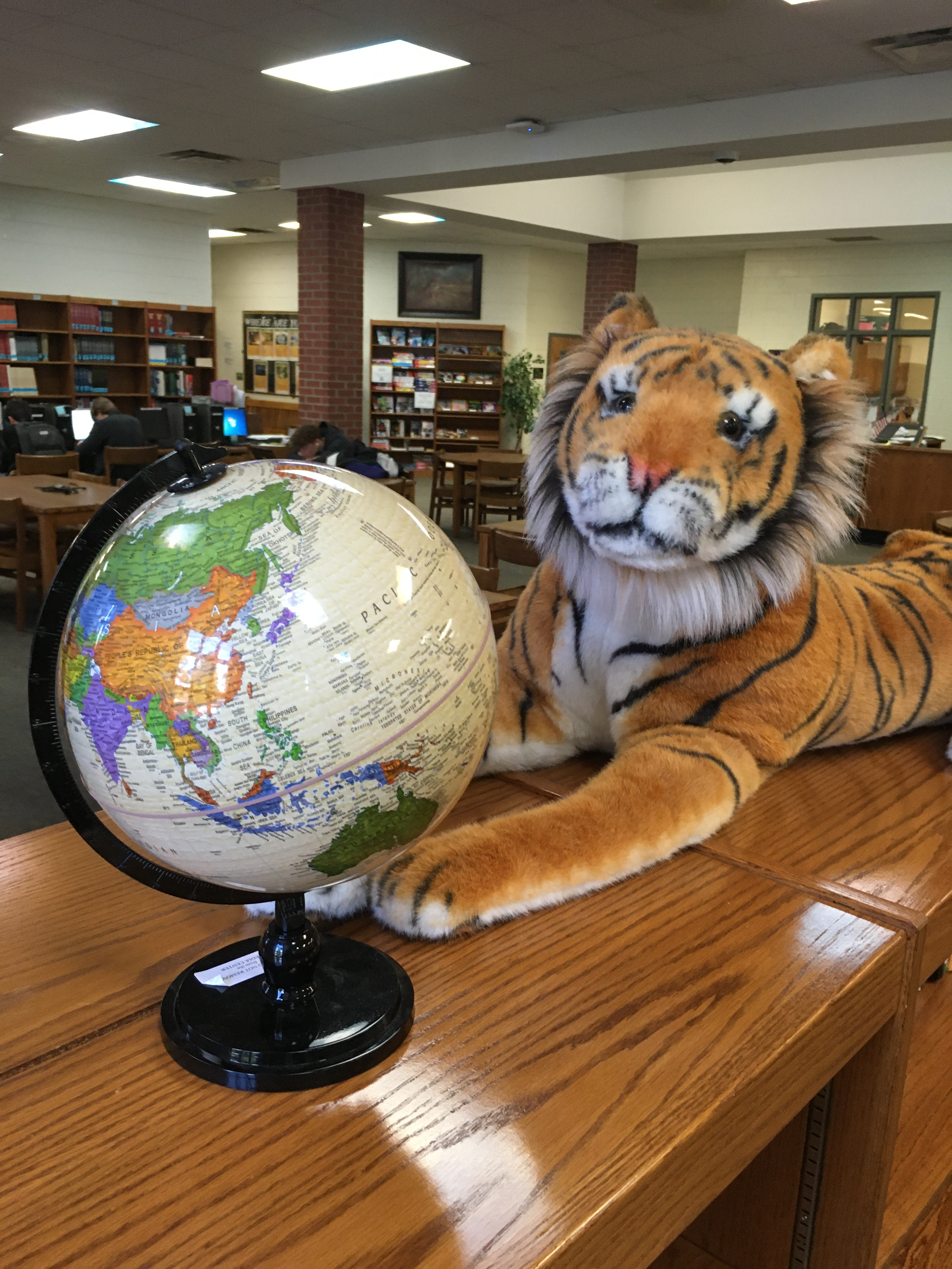 Tiger with globe