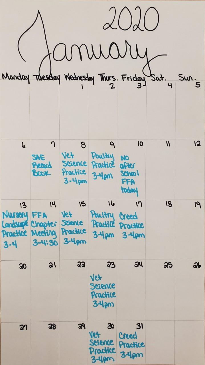 BMS FFA Calendar of Events for January 2020