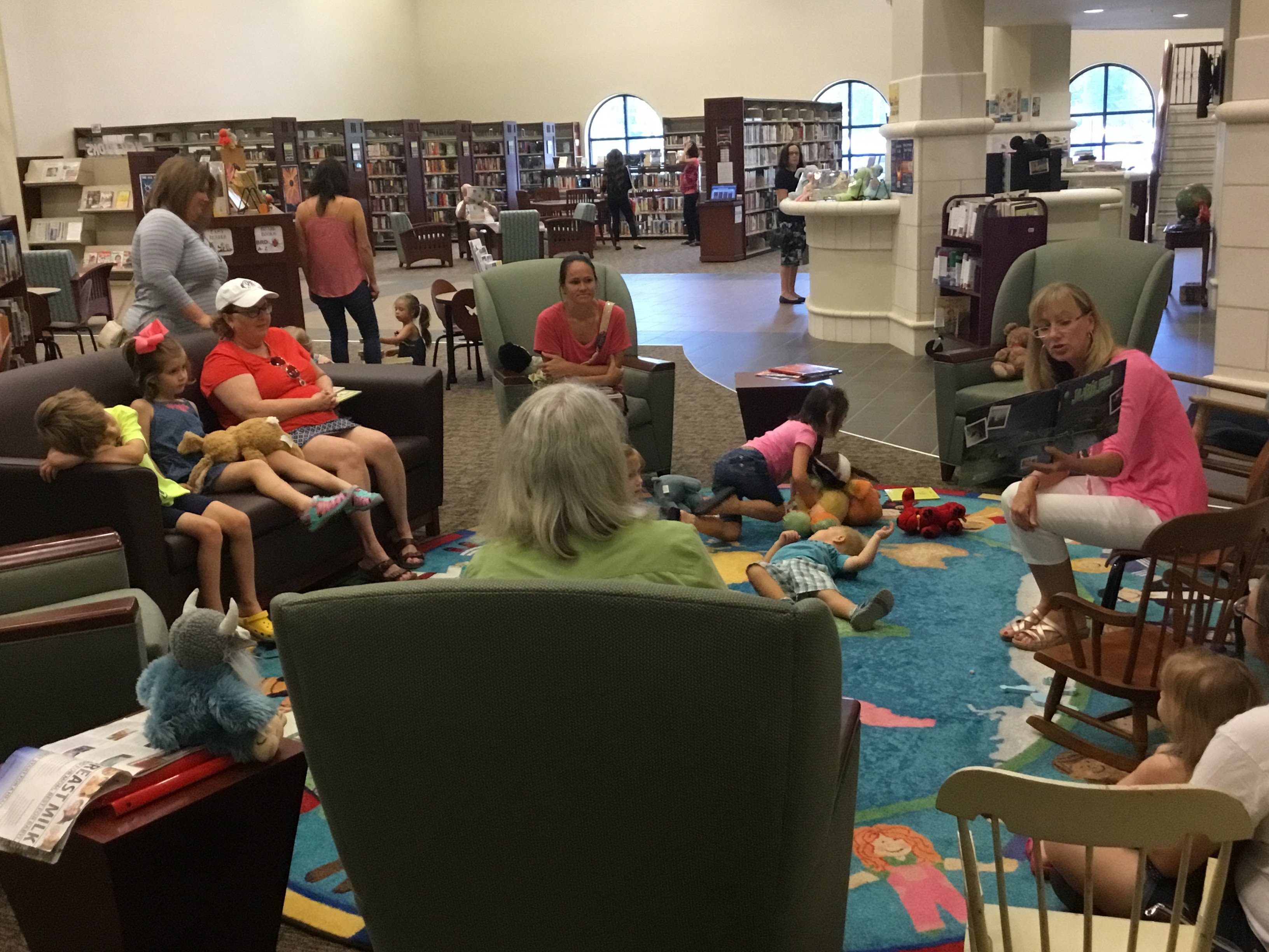 "Storytime group listening to author Karen Tunks read her book, ""Jubilee"""