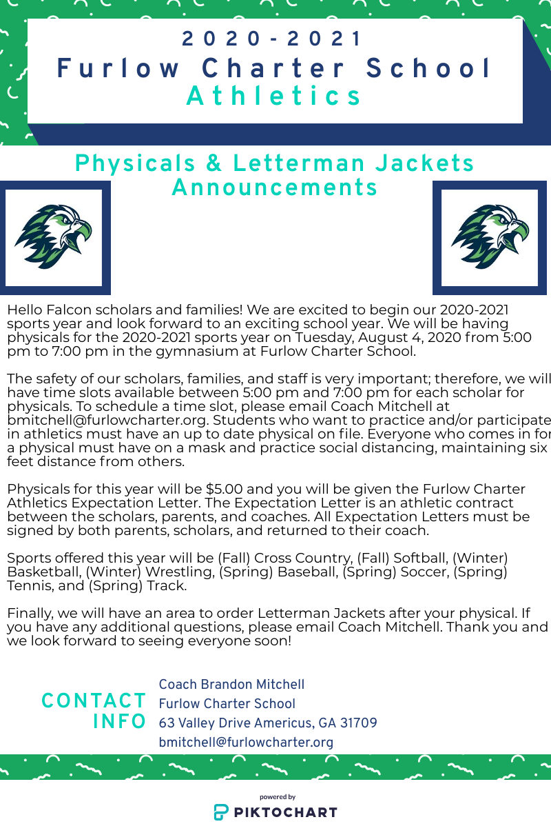 Furlow Athletics - Physicals and Letterman Jackets Announcements