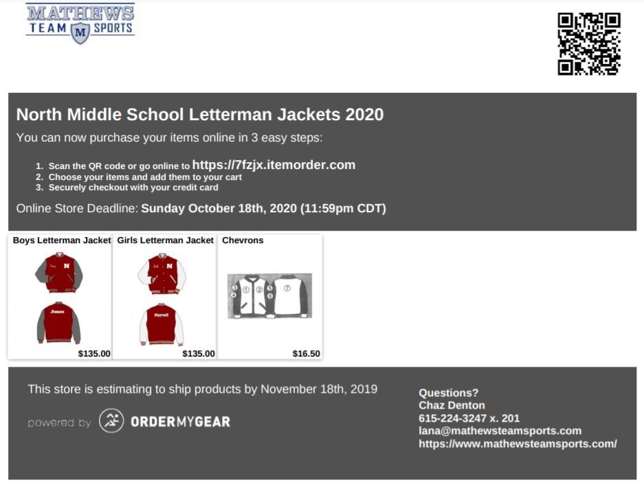 Letterman Jacket order form