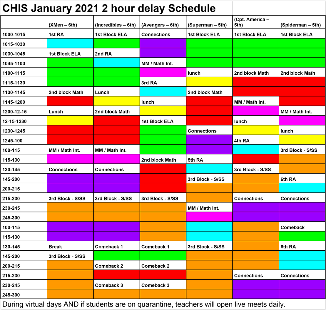 CHIS 2 Hour Delay Schedule 2021