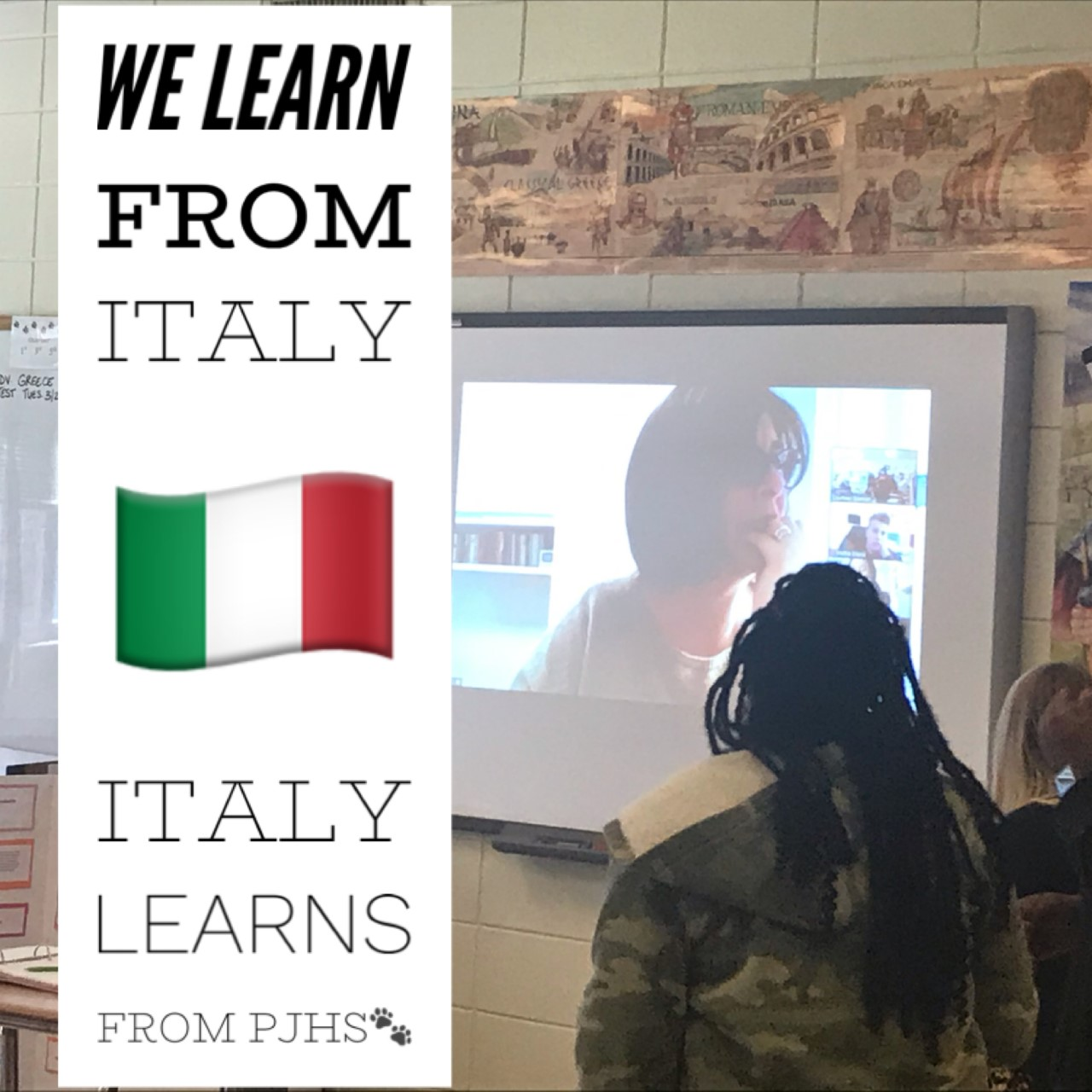image of students in Ms. Spencer's class learning from students in Italy