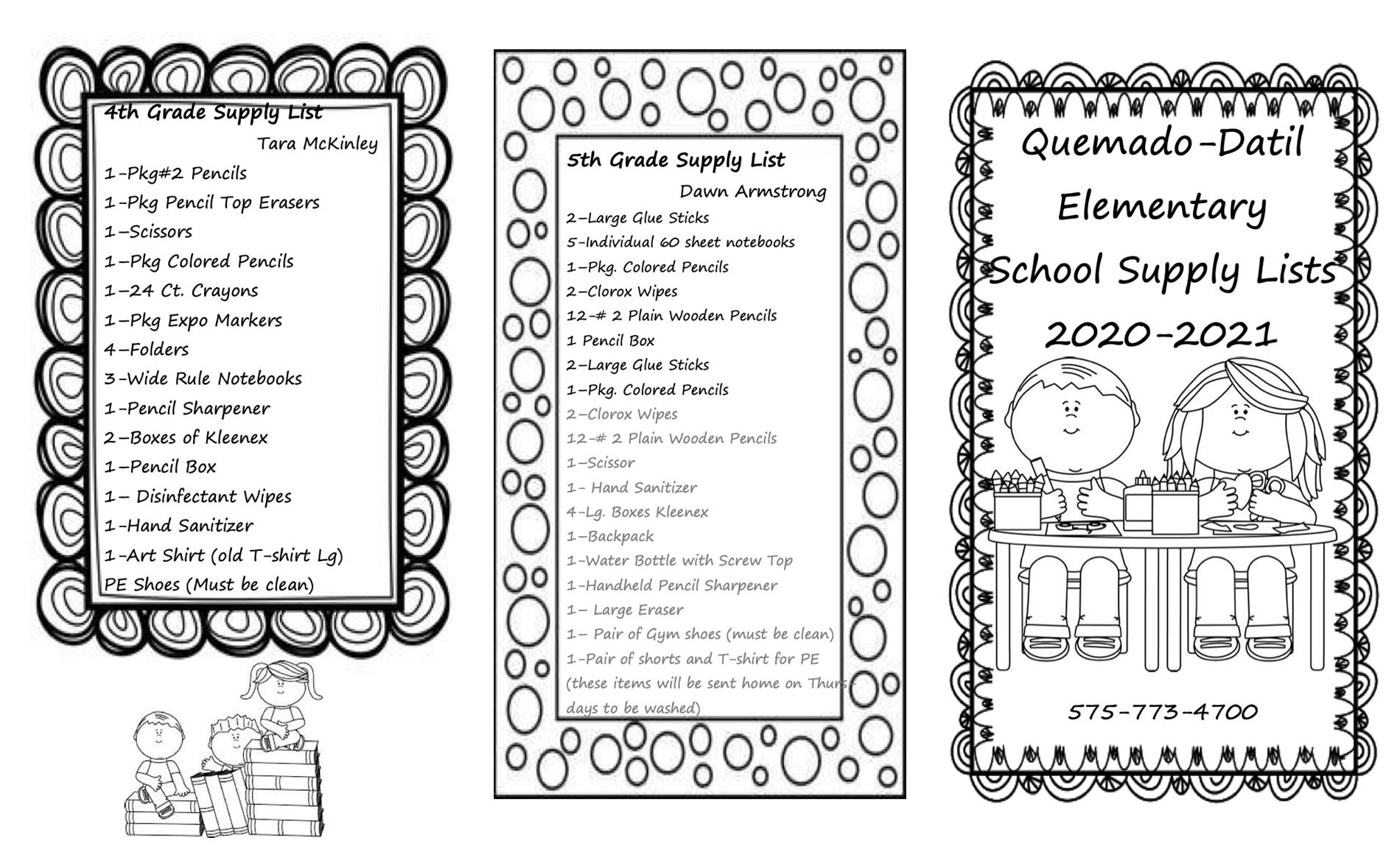 Quemado 5th & 6th grade supply list