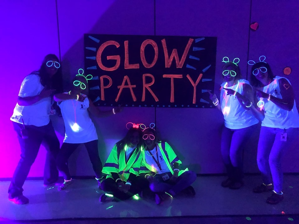 activity teachers at glow party