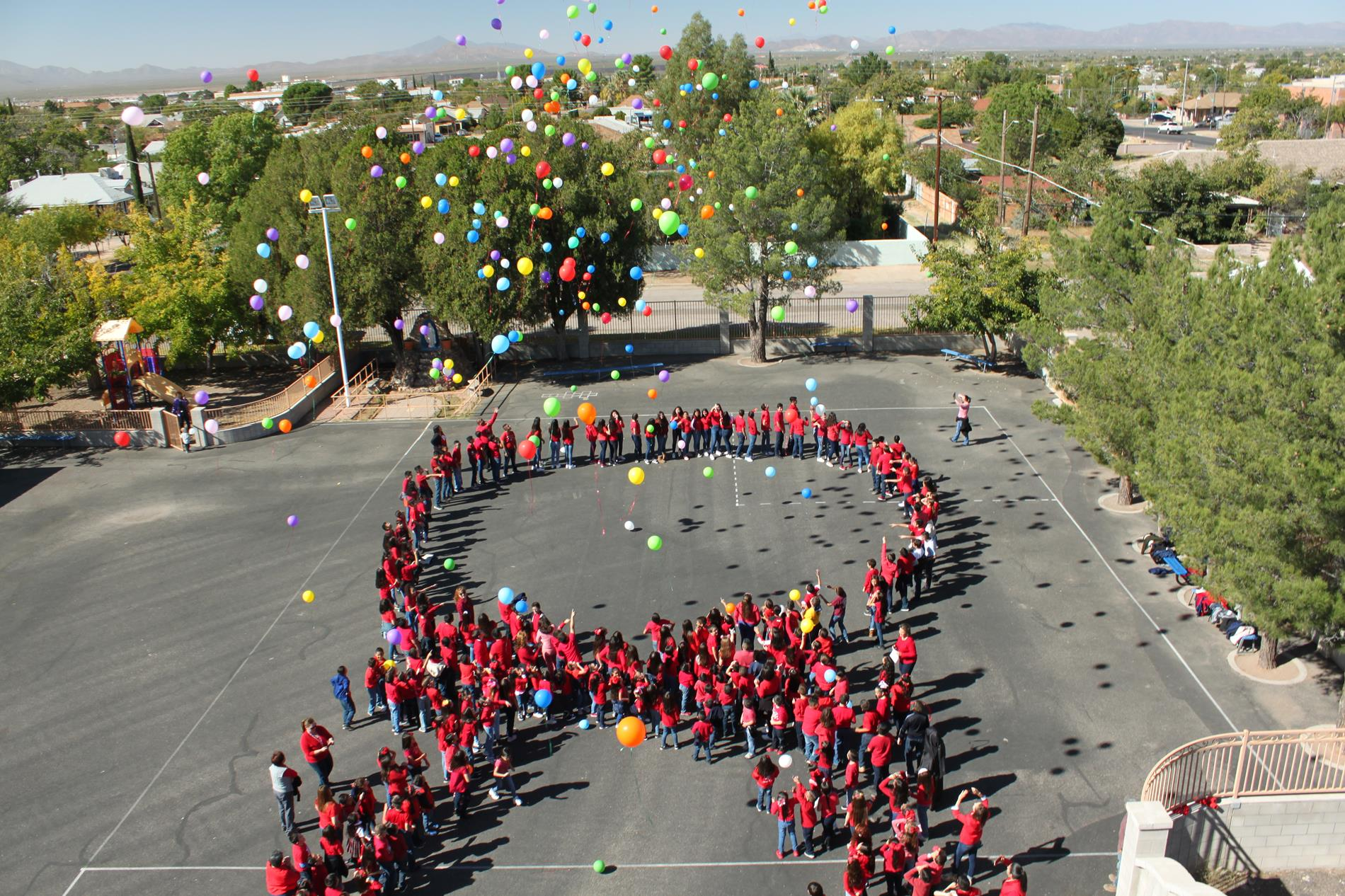 Students releasing balloons!