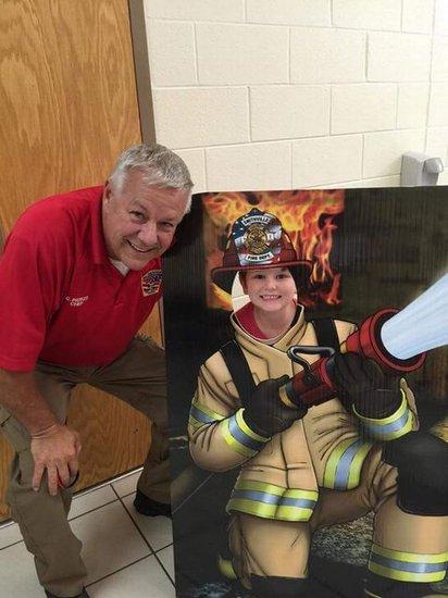 Firefighter photo op.