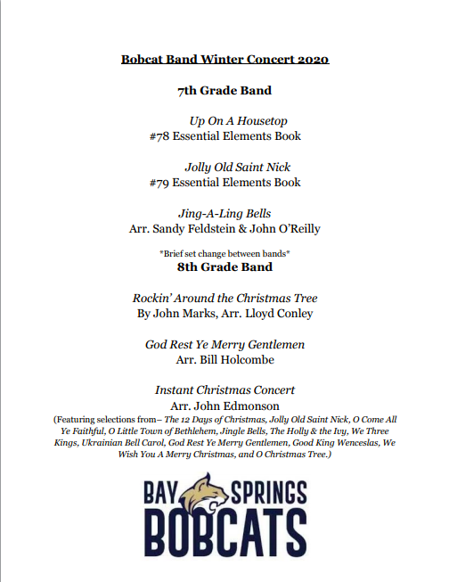 7th and 8th Grade Winter Concert Program