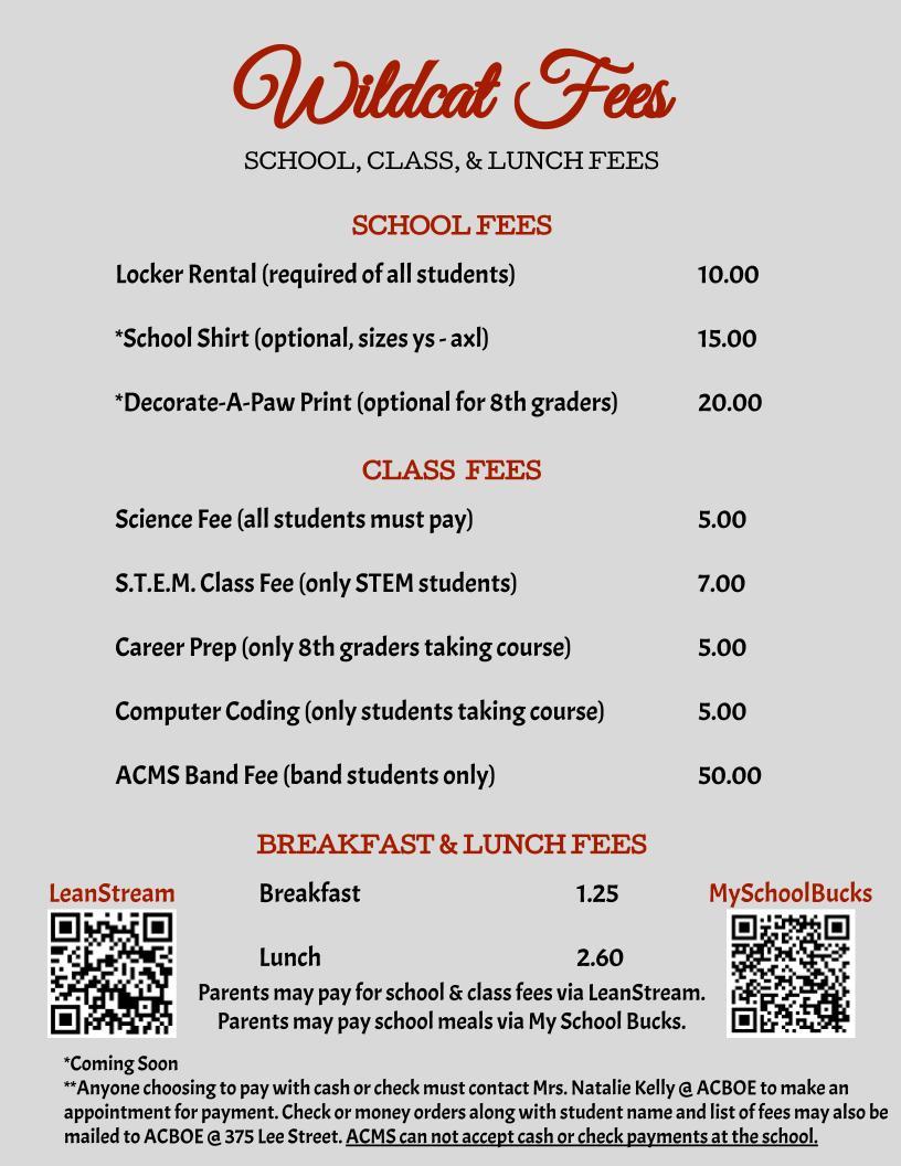 fee menu