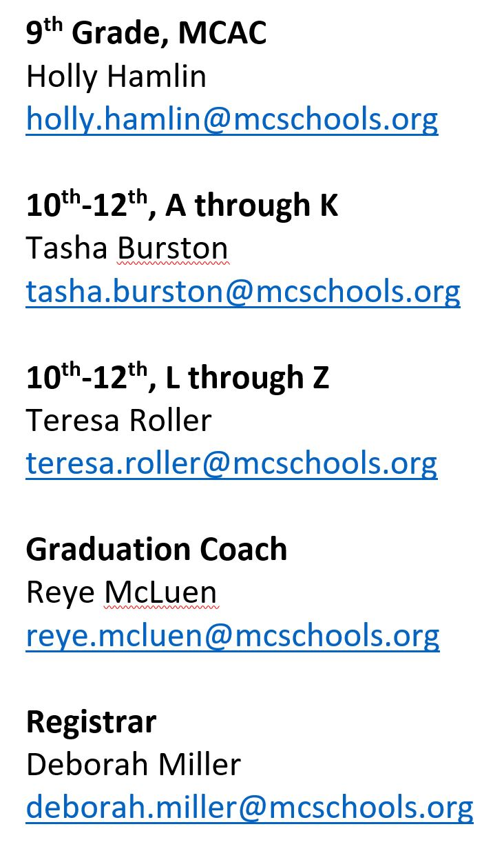 Counselors' Email Addresses