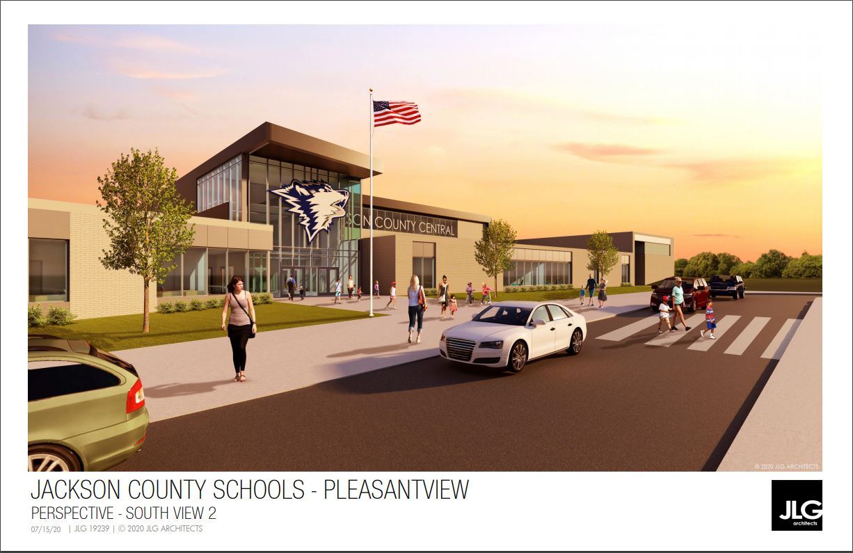 Front view of new school