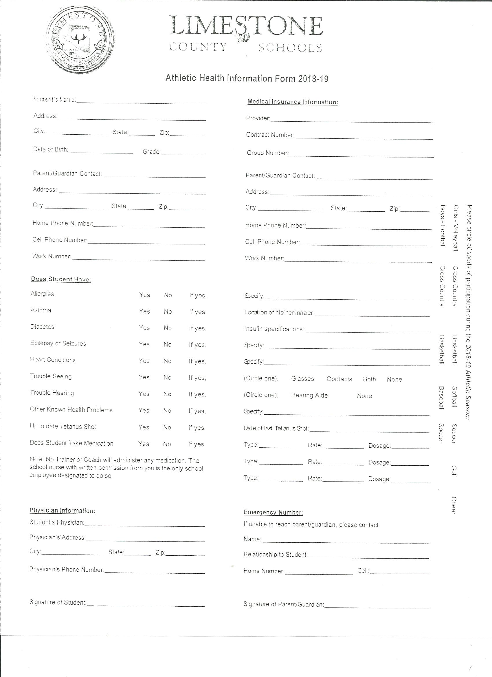 sports physical form alabama  Athletic Forms