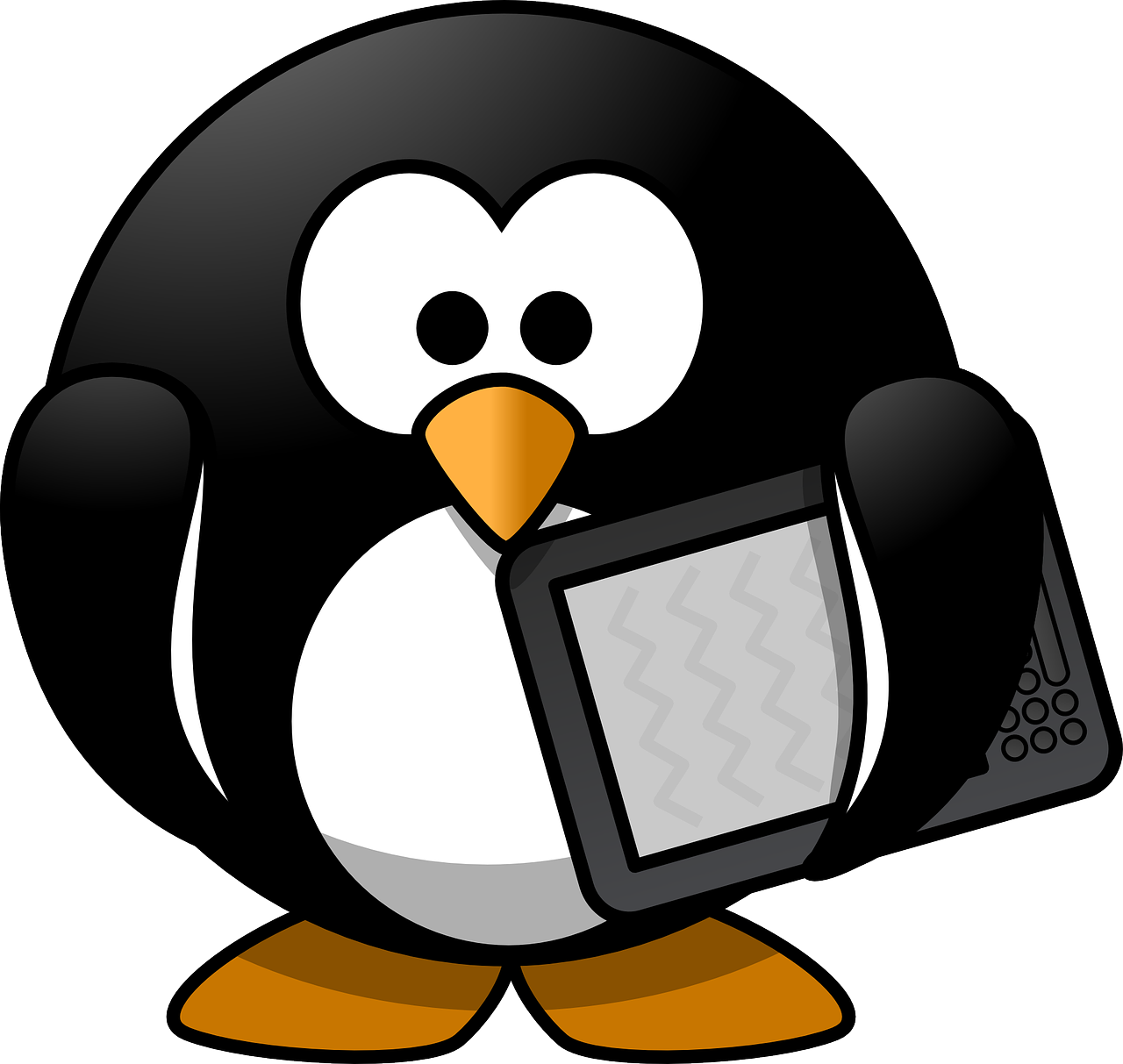 roly-poly little penguin with an ereader/tablet tucked under one wing.