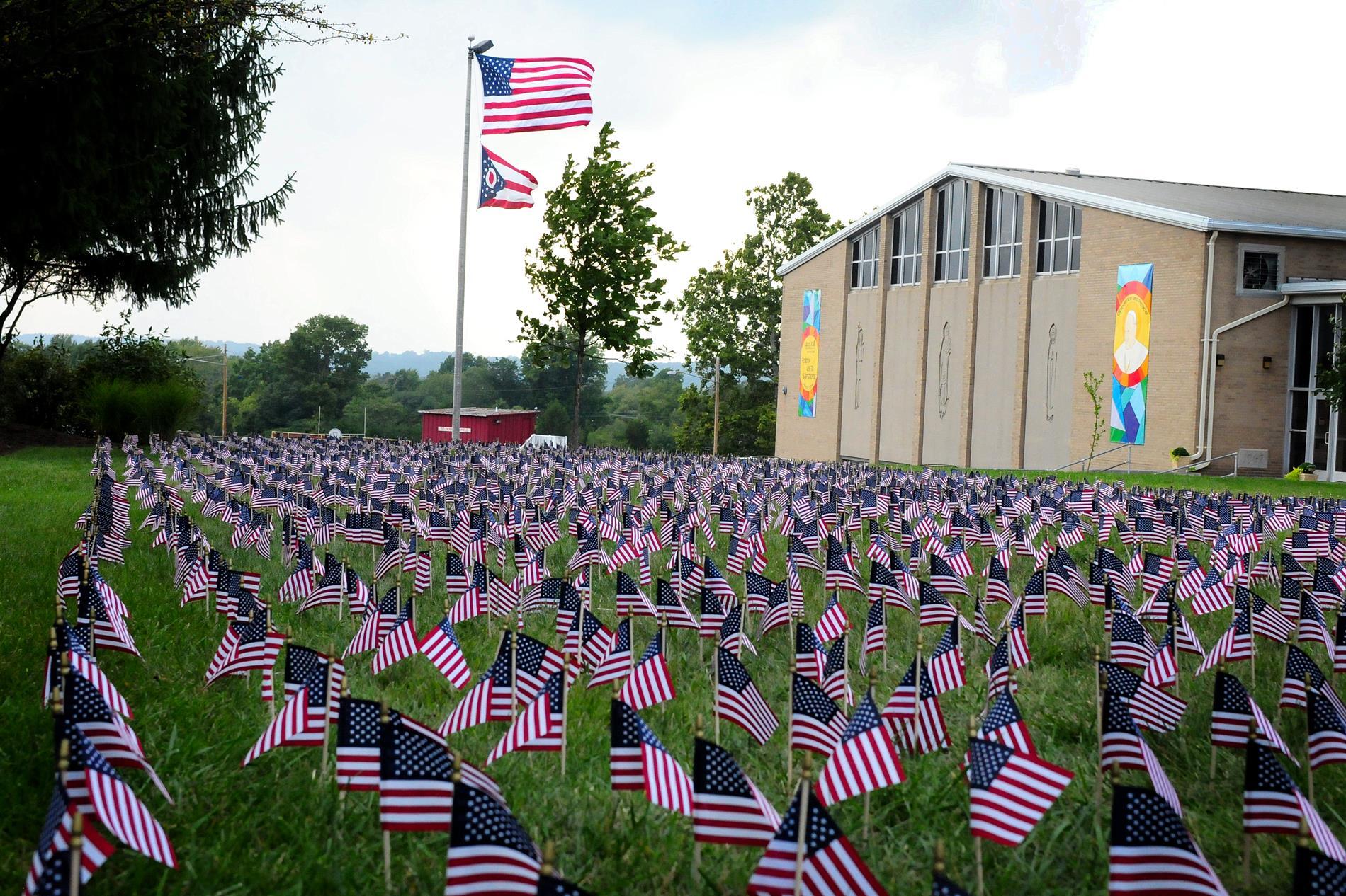 flags around campus