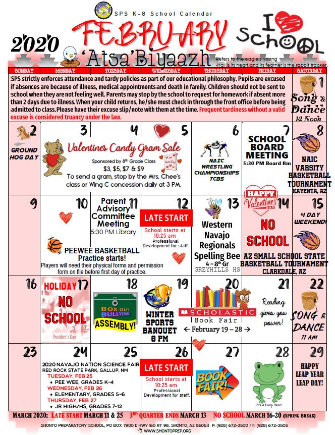 February 2020 K-8 Calendar