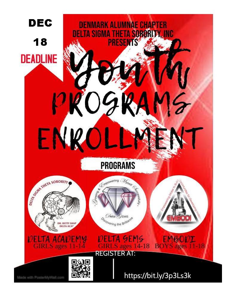 Youth Programs Enrollment Register at https://bit.ly/3p3Ls3K