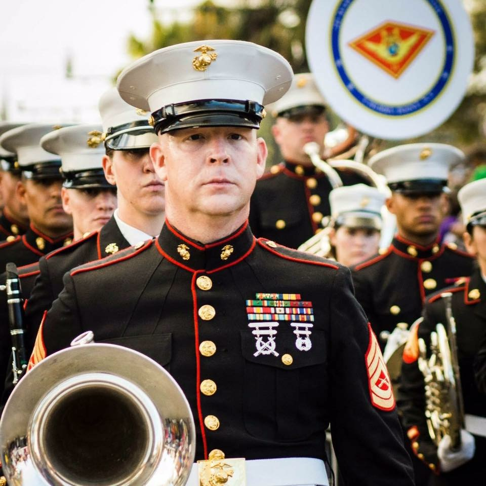 Mardi Gras. Step off 2012. I was stationed at 2nd Marine Aircraft Wing Band. All hands on the street (Everyone in the unit that could march, did) That was a 9n mile parade that day.