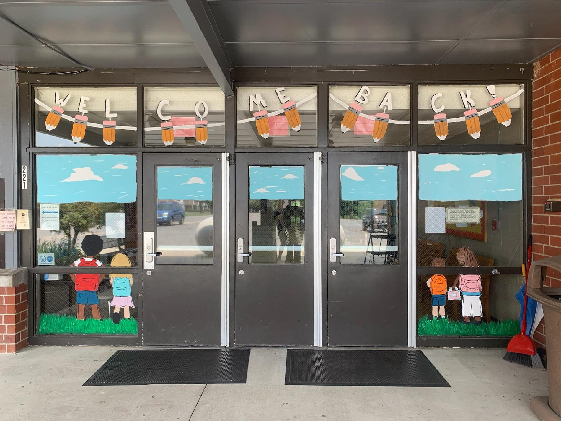 picture of painting on front of school